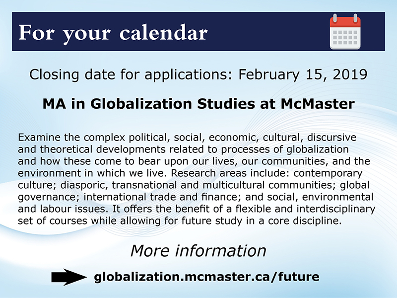 2019-02-15 Closing Date for MA in Globalization